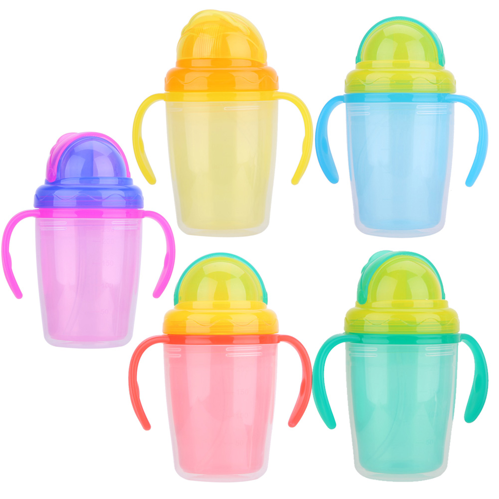 230ml Baby Kids Cup Children Straw Water Bottle Feeding Drinker Silicone Handle Bottles Cup for Baby Training Feeding Cups 240ml baby drinking water bottle cups with straw portable feeding bottle cartoon water feeding cup with the handle for baby hot