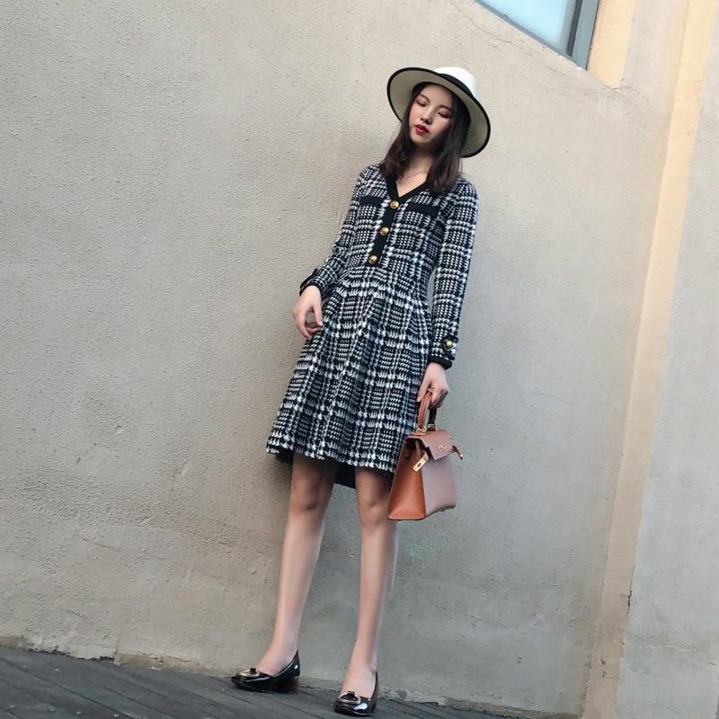 Hepburn Qianbi De Rétro Taille Mince Automne Et Femmes Primaire Checker Amour Hiver Robe Nouveau Avec 2008 IF0x7qn