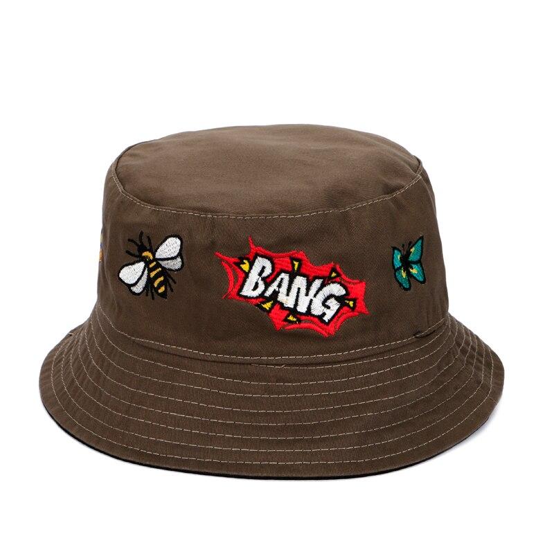 32d97d81250 Bucket Hat Men BANG letter Cartoon Embroidery Women hat bucket hip hops cap  male female fisherman hat cappello pescatore-in Bucket Hats from Apparel ...