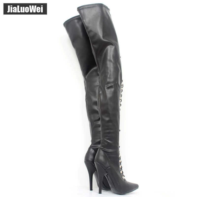 9cdb32175e1 jialuowei Fetish Lace Up Zip Crotch Flex Matt PU Thigh High Heel Over Knee  Boots Plus size 44, 45,46 more colors Free shipping