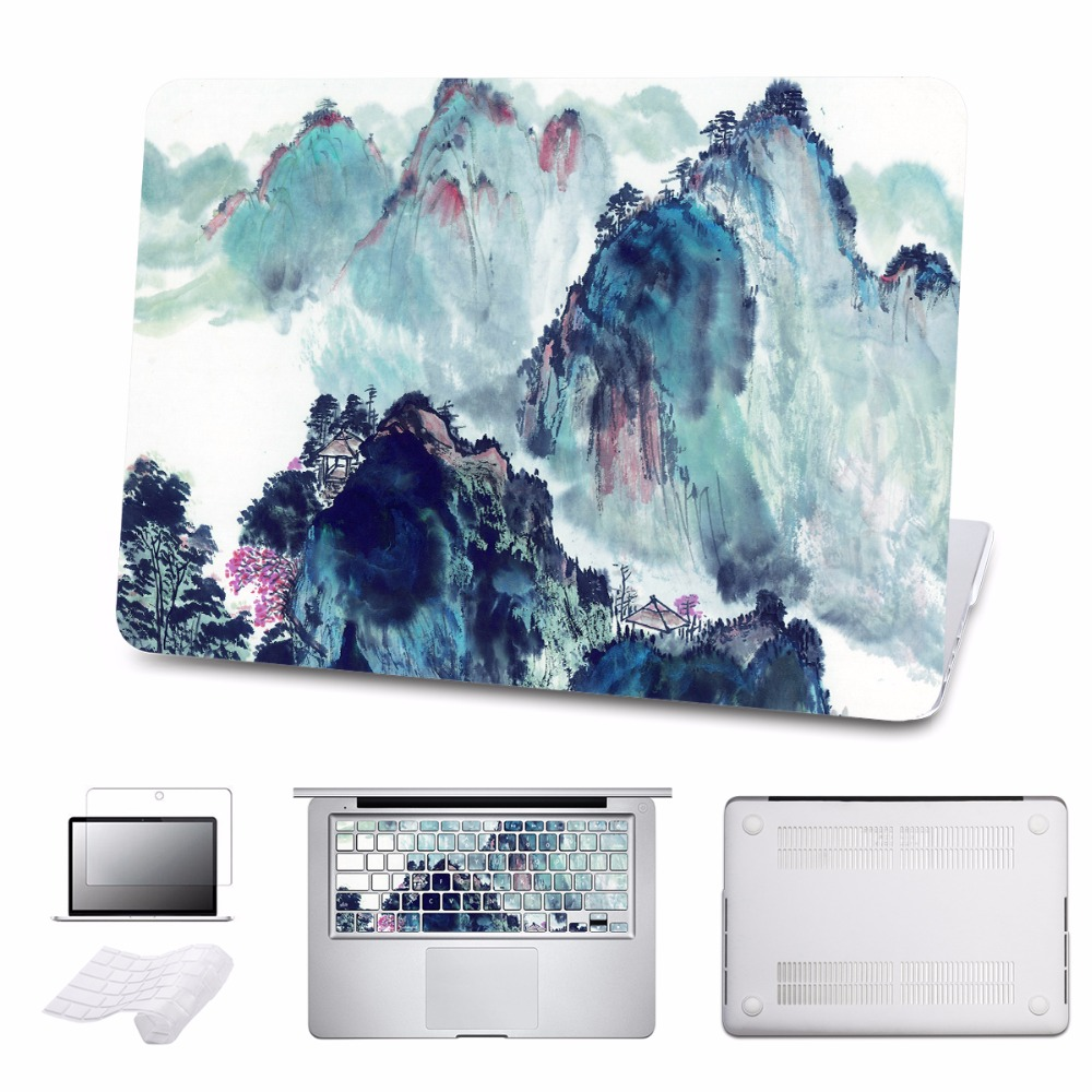 Landscape Hard Case for 2016 2017 New Macbook Pro Retina 13 15 A1706 Touch Bar Cover Air 11 13 A1466 Laptop Bag 5 in 1 Bundle 5 in 1 bundle leopard cover case for apple macbook air pro retina 11 12 13 15 inch hard shell laptop bag with keyboard sticker