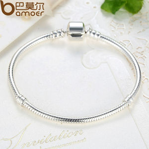 Image 5 - BAMOER TOP SALE Authentic 100% 925 Sterling Silver Snake Chain Bangle & Bracelet for Women Luxury Jewelry 17 20CM PAS902
