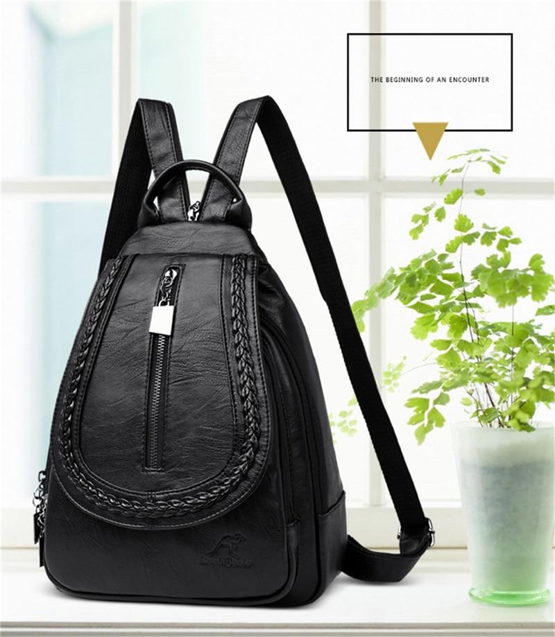 HTB1RoSTblv0gK0jSZKbq6zK2FXaM Women Leather Backpacks Zipper Female Chest Bag Sac a Dos Travel Back Pack Ladies Bagpack Mochilas School Bags For Teenage Girls
