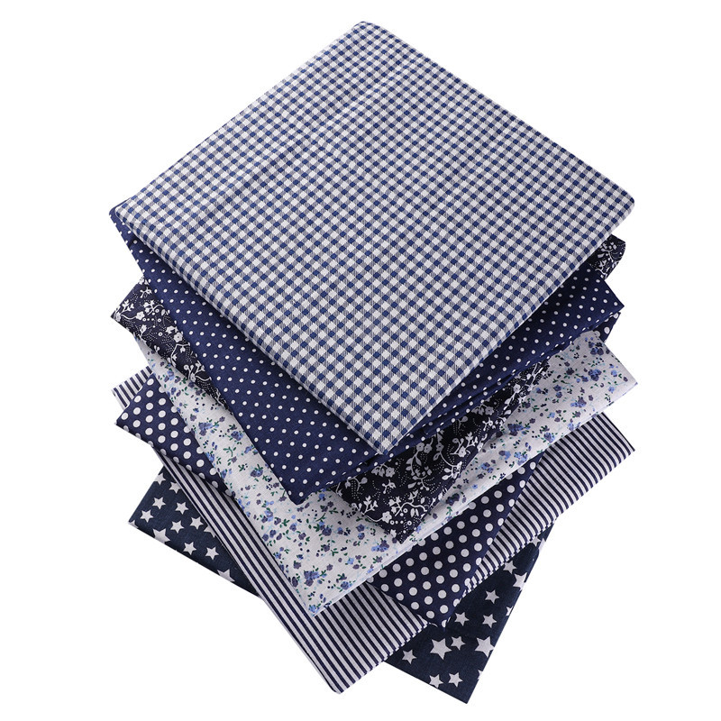 """כחול כהה 50X50 ס""""מ 100% כותנה פרחוני פרחים שמיכות פליז נקודות בד עבור בובת טלאי בגדי תפירת רקמה בית טקסטיל 53124"""