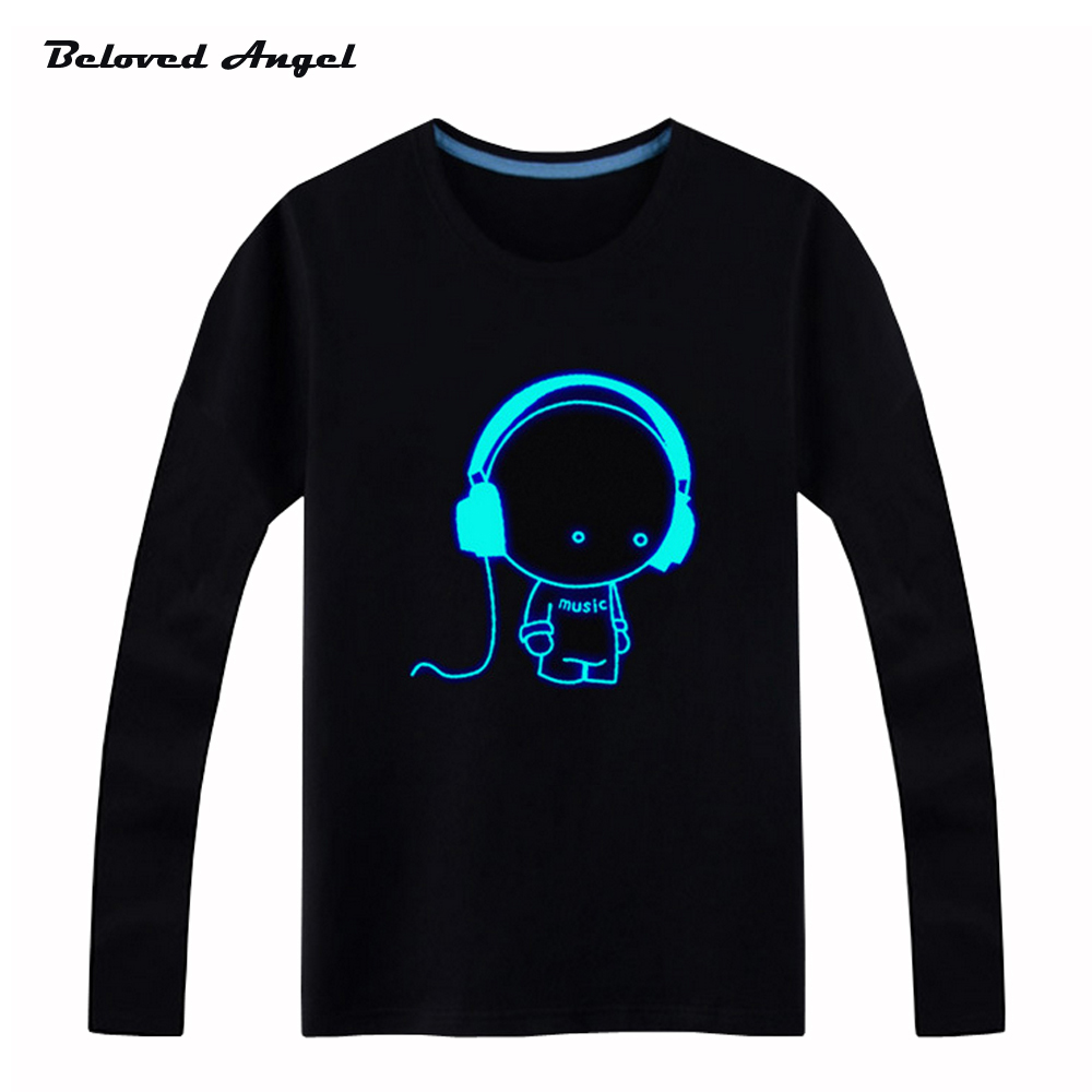 Beloved Angel Blu-ray New Design Kids Long Sleeves Tees Neon Print Shine Children Boys Girls T Shirt Darkness Luminous Clothing black lace up design cold shoulder long sleeves t shirt