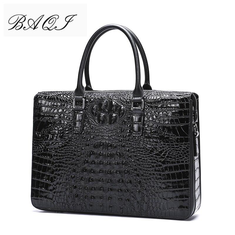 BAQI Men Briefcase Bag Handbags Crocodile Pattern Cow Leather Man Shoulder Messenger Bag Password Lock Men Computer Business Bag