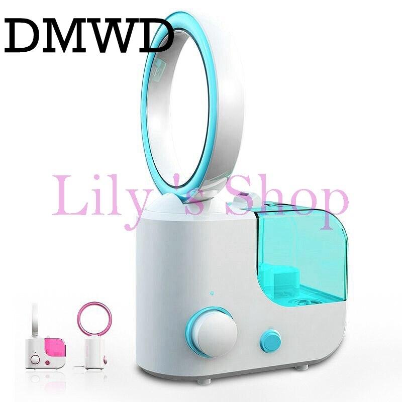 DMWD MINI electric desktop no leaf air cooling fan humidifier diffuser Mist Maker Fogger bladeless cooler office 110V 220V EU US for asus u46e heatsink cooling fan cooler