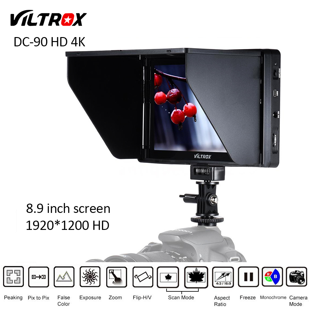 Viltrox DC-90 Clip-on 8.9'' 1920x1200 Pixels IPS HD LCD Camera Video Monitor Display HDMI AV Input for Canon Nikon DSLR