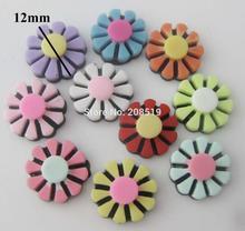 NBNLKE 12MM flatback resin flower buttons mix 100pcs DIY craft supplies