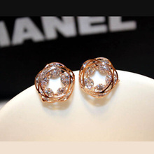 Charmcci Fashion Exquisite Crystal  Stud Earrings Jewelry For women High Quality Ear Studs Gifts