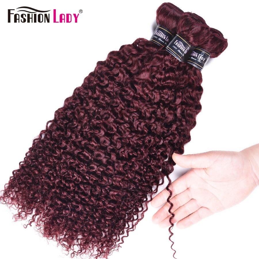 Fashion Lady Pre-colored Brazilian Hair Weaving Curly Hair Bundles 99j Hair Weave Red Human Hair Bundles 4 Pcs Non-remy