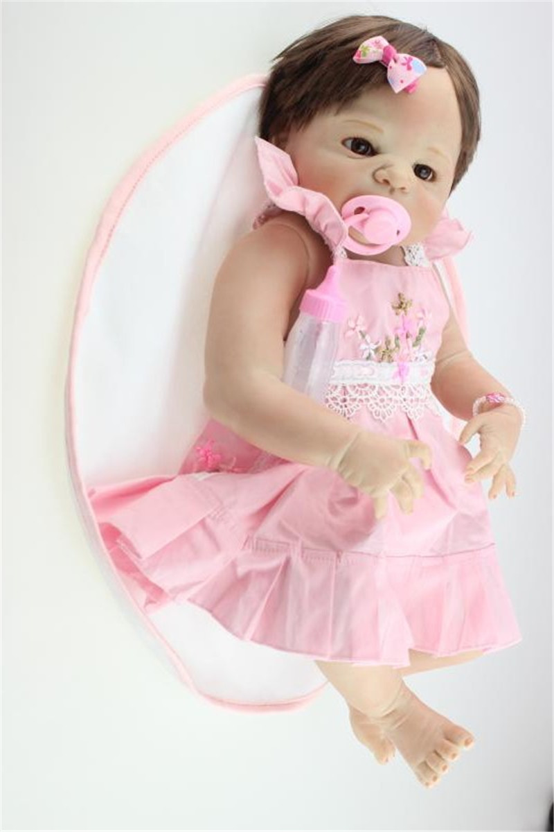 Real Looking Silicone Reborn Baby Doll Girl Doll, Lifelike Baby Reborn Doll Toys for Children Christmas Gift nicery 18inch 45cm reborn baby doll magnetic mouth soft silicone lifelike girl toy gift for children christmas pink hat close