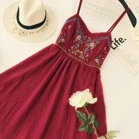 Women Ethnic Boho Dress Spaghetti Strap Mexican Embroidery Sleeveless Casual Dress 2018 Summer Holiday Beach Short Boho Dresses