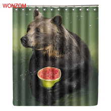 WONZOM Bear Polyester Curtains with 12 Hooks For Bathroom Decor Modern Animal Bath Waterproof Curtain New Accessories
