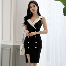 Elegant Summer Women Dress Contrast Color V-Neck Tight Bag Hip Slim Workwear Ladies Formal Office Knee-length Dress contrast color full length dress