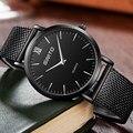 Marca de lujo de Acero Inoxidable Relojes de Los Hombres Reloj de Cuarzo de Moda Ultra Delgada Mujer Vestido Reloj Unisex Simple Reloj Reloj Hombre