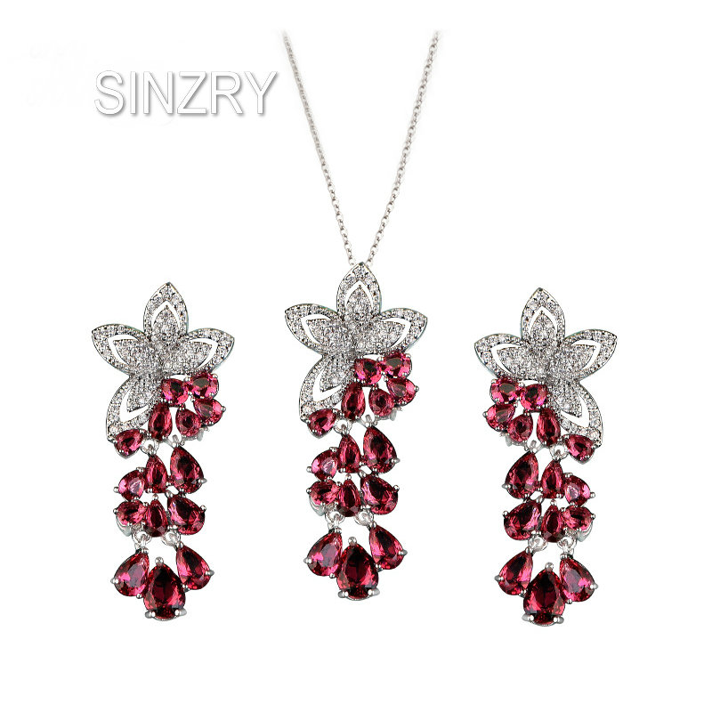 SINZRY Hotsale 2017 white Cubic zircon flower tassel choker pendant necklace earring jewelry set Korean jewelery white gothic style black white lace flower wide choker necklace