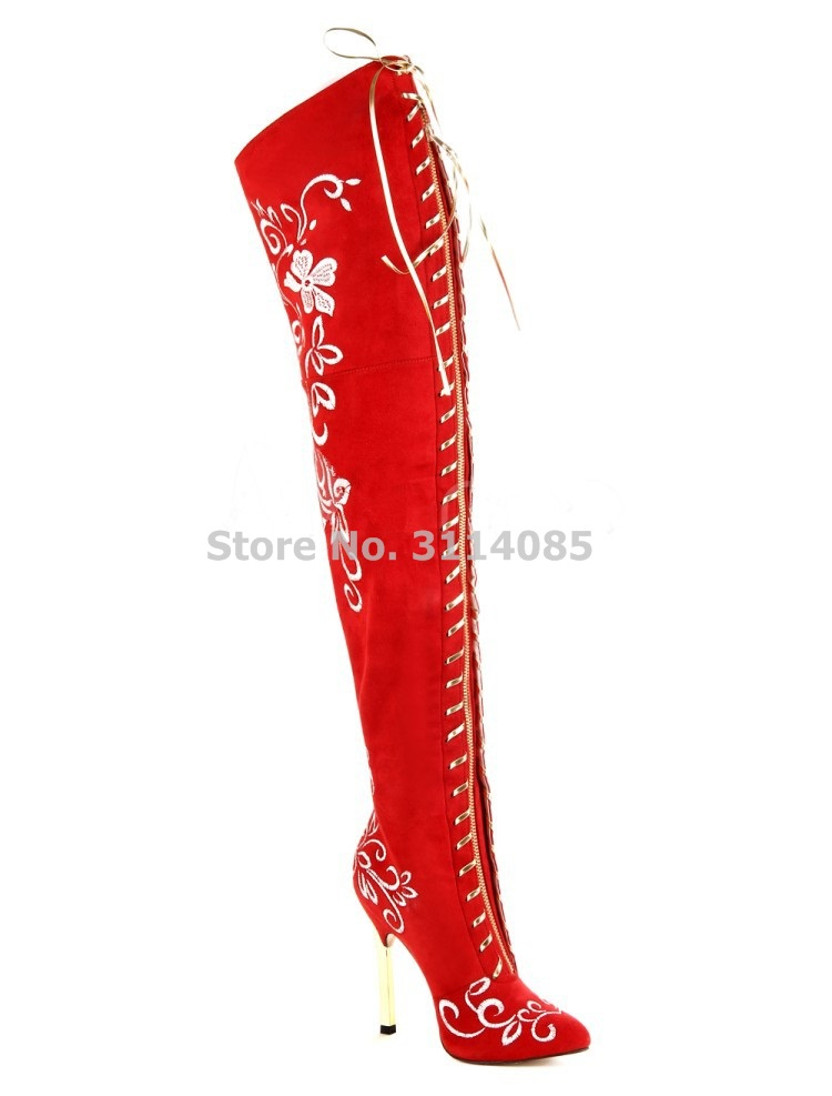Factory Real Photo Suede Embroidered Decorated Gold Heels Wedding Shoes Nightclub Girls Stage Dress Boots Pointed Toe Pumps