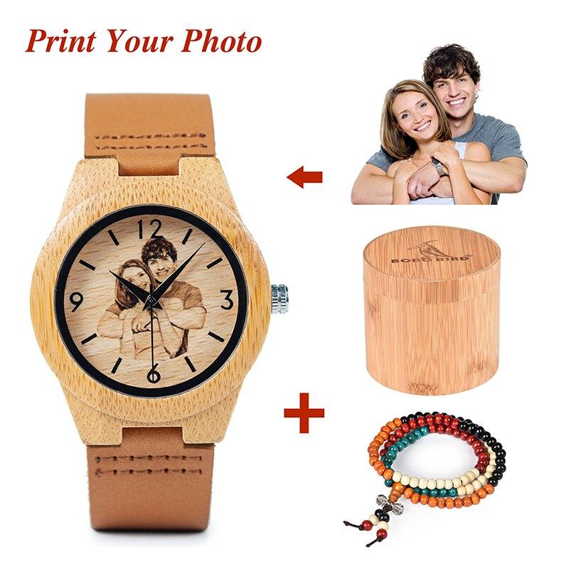 BOBO BIRD Personal Custom Couple's Watches Men Women Watch Print Your Own Photo for Clocks relogio masculino UV-A31