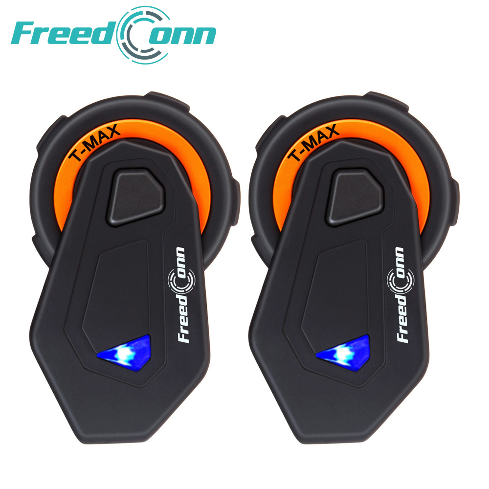 2 Pcs T-MAX Motorcycle Helmet Intercom 6 Riders 1000M Group Intercom Headset Wireless BT Interphone Bluetooth 4.1 FM Radio