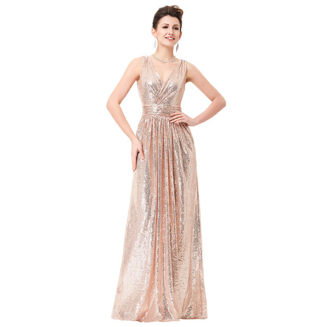 Online-Shop Luxury Gold Silber Lange Pailletten Abendkleid Rosa ...