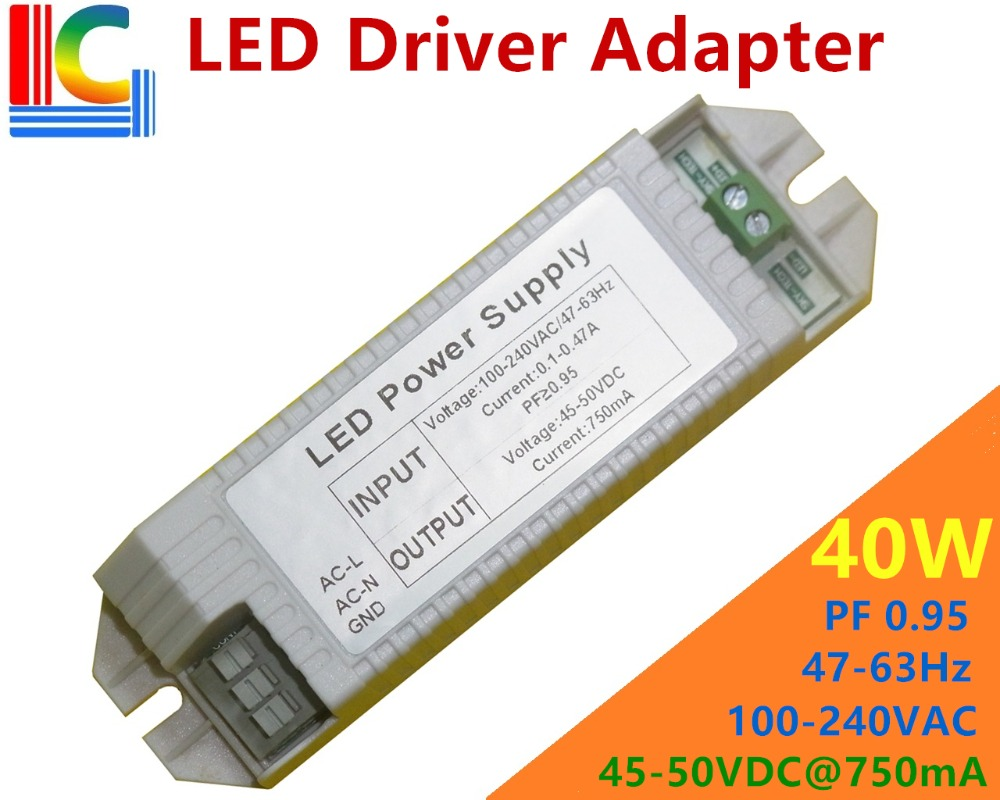 40W Led Driver adapter 750mA Power Supply AC to DC Lighting Transformer for LED Downlights LED Panel lamps LED Track Lighting