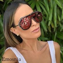d8b2a553f Emosnia الفاخرة كبيرة القط العين النظارات الشمسية الرجال النساء التدرج  الرجعية الأسود الايطالية العلامة التجارية مصمم مرآة فضية .