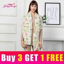 Jinjin.QC New Fashion Women Scarf Viscose Flamingo and Pineapple Print Casual Scarves Cactus Printed Echarpe Foulard Femme