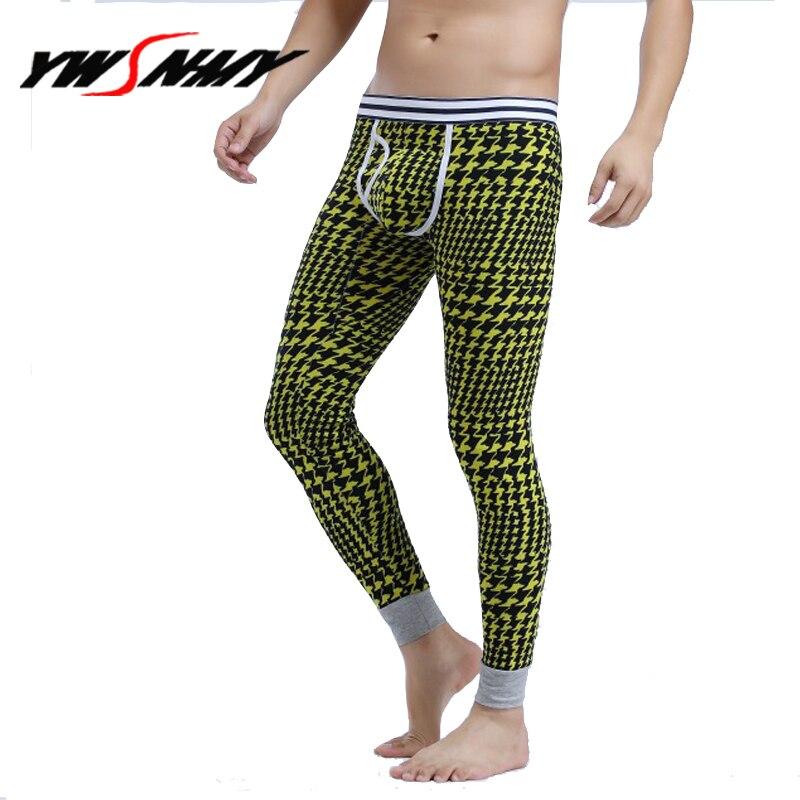 Underwear Winter Warm Men Long Johns Cotton Fashion Printed Thick Plus Velvet Thermal Leggings Pants
