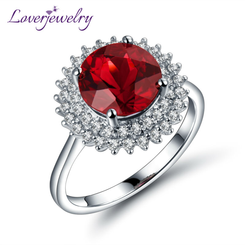 Vintage 18K White Gold Natural Ruby Ring Round 8mm Diamond