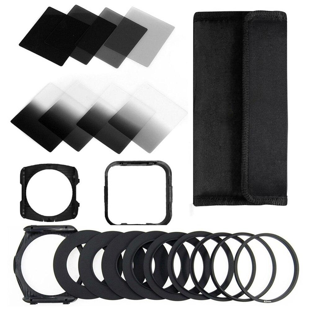 Trasporto libero zomei Fotocamera Filtro Gradiente ND2 4 8 16 Filtro ND Piazza Set Kit Cokin P Series Filter Holder Adattatore Cappuccio anelli per DSLR