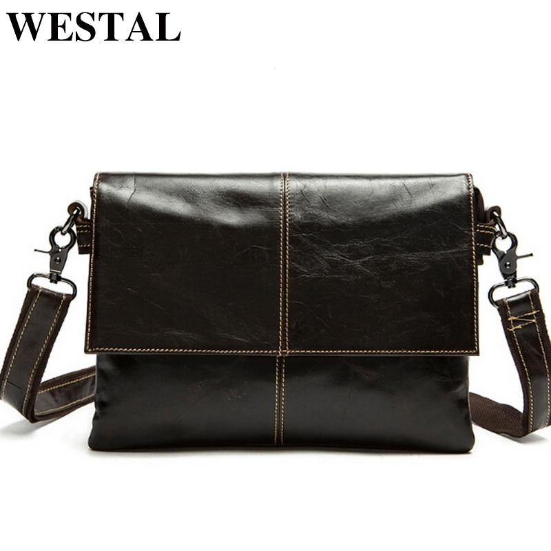 WESTAL messenger çanta erkek hakiki deri Crossbody Çanta Moda ipad Küçük Flap Erkekler Çanta erkek Omuz Çantası Debriyaj Çanta