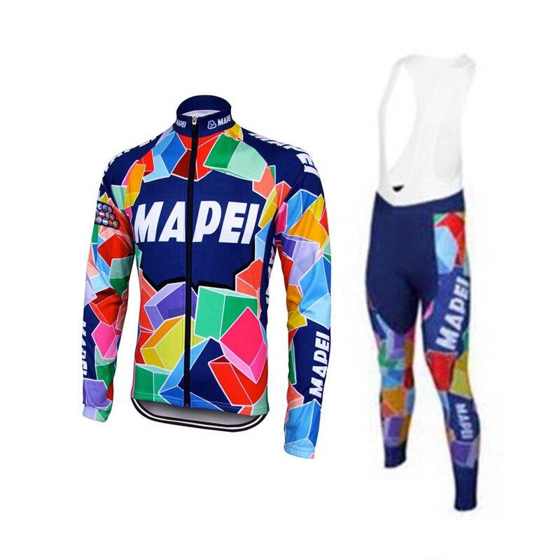 MAPEI cycling jersey set men Long sleeves bike wear bib trousers set GEL Pad winter fleece