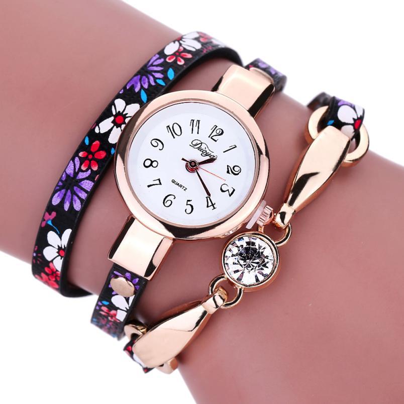Lowest Price Women Watches Diamond Wrap Around Leatheroid Quartz Wrist Watch Reloj de las mujeresQuartz-watch
