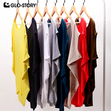 GLO-STORY 2016 New Arrive Fashional Casual Loose Batwing Sleeve Summer Women T shirt Solid O-neck Tops