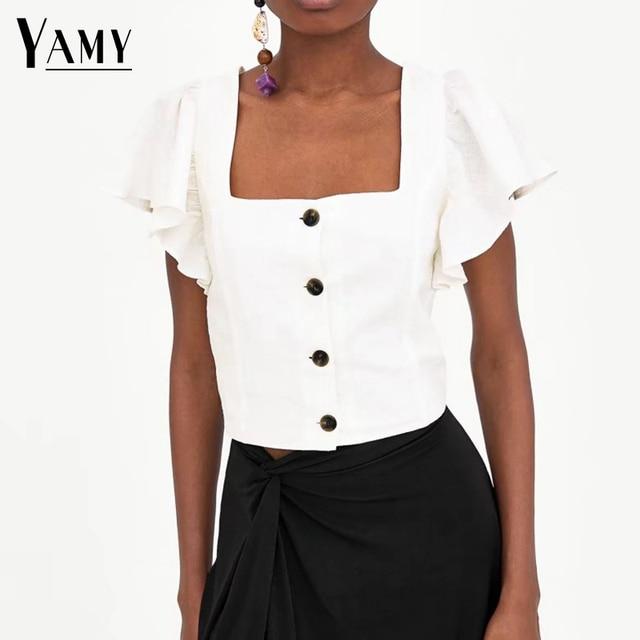 e4925744d4f Summer kawaii crop top t shirt women black white ruffle button korean  fashion tshirt women bohemian