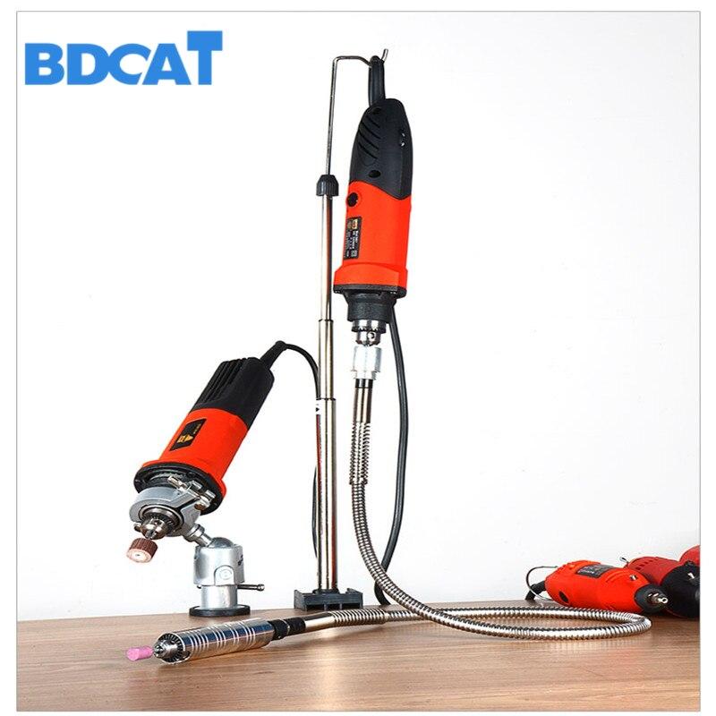 BDCAT Dremel suporte suporte de suspensão Acessórios ferramentas de poder moedor de eixo flexível Mini suporte broca multifuncional