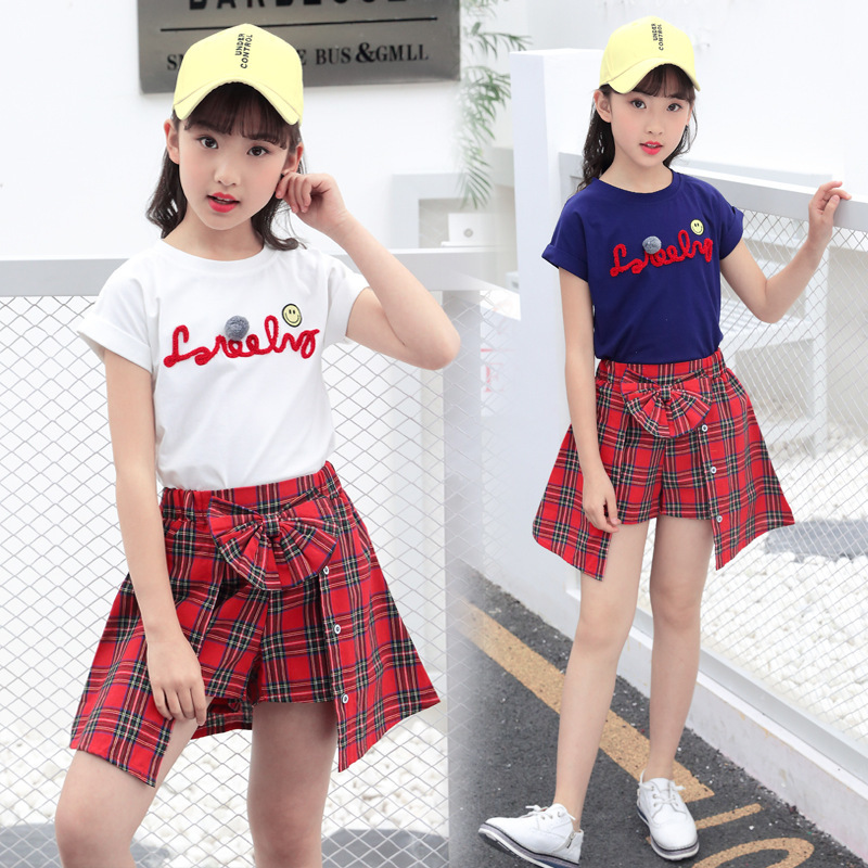 5596c3e363ddd US $12.2 18% OFF|Aliexpress.com : Buy 2018 Children's Clothing Summer Girl  Top T shirt + Grid Shorts Suit Fashionable Clothes for Kids Girls 8 10 11  ...