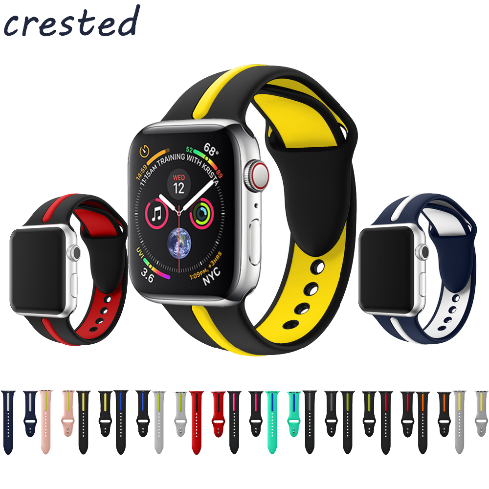 Cresta del silicón del deporte de la correa para apple watch banda 42mm 38mm 3/2/1 pulsera doble color de goma reloj para iwatch