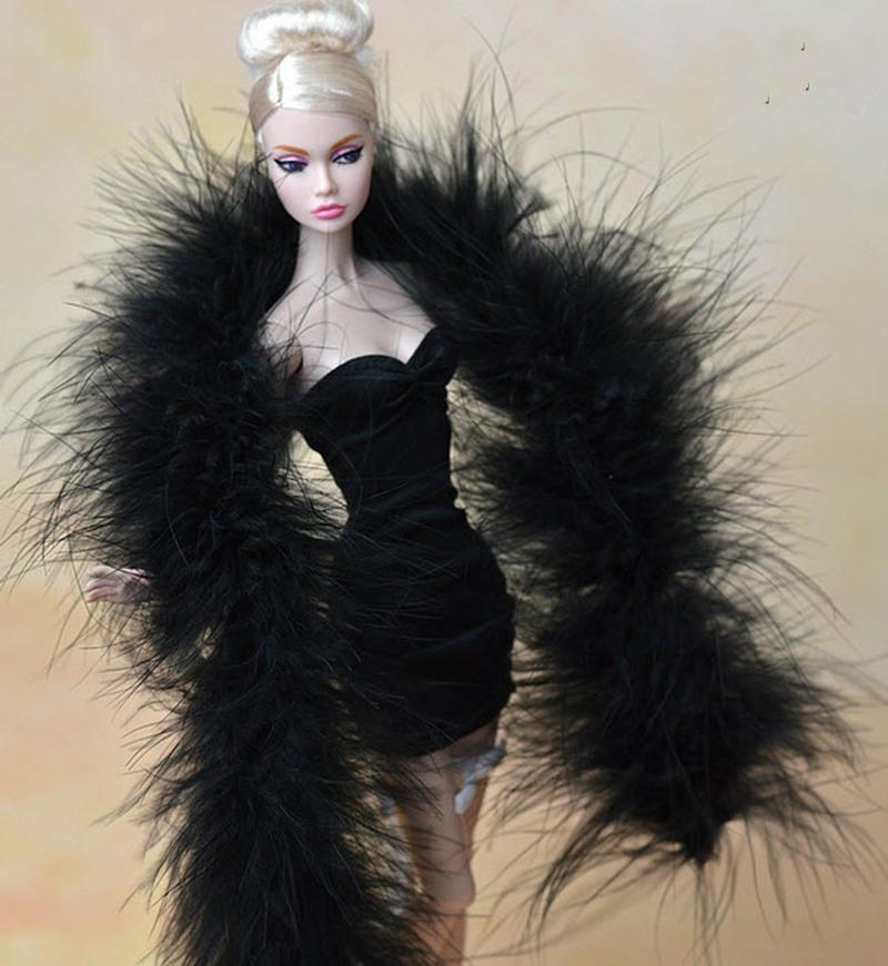 Fashion Black Long Plush Shawl Pashmina For Barbie Dolls For Monster High Dolls Girl s Playhouse