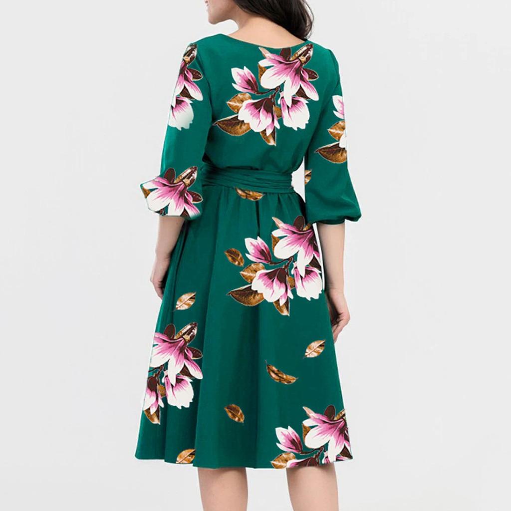Plus Size 3XL Summer Dress 2019 Ladies Vintage Half Sleeve Dresses Woman Party Night Floral Print Dresses Women Party Dress