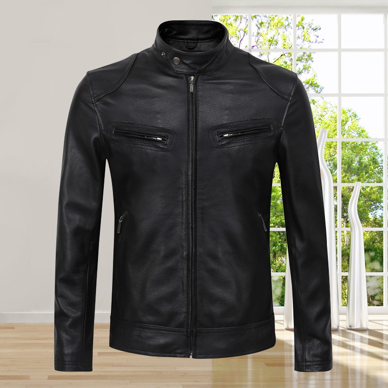 New Autumn Men Cow Leather Jackets Motorcycle Designer Style Male Genuine Leather Coat 2019 High Quality Real Leather Jacket(China)