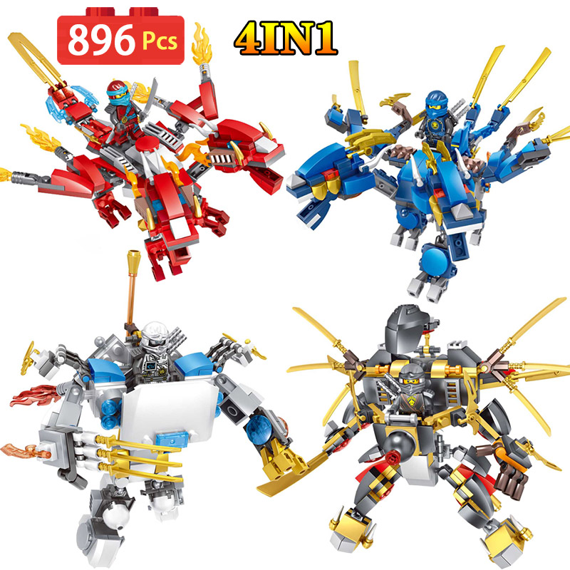 Ninjago Movie Series Model Machine Armor Building Blocks 4 IN 1 Toys Children LegoINGly Gifts Compatible Toys For Kid 8 in 1 military ship building blocks toys for boys