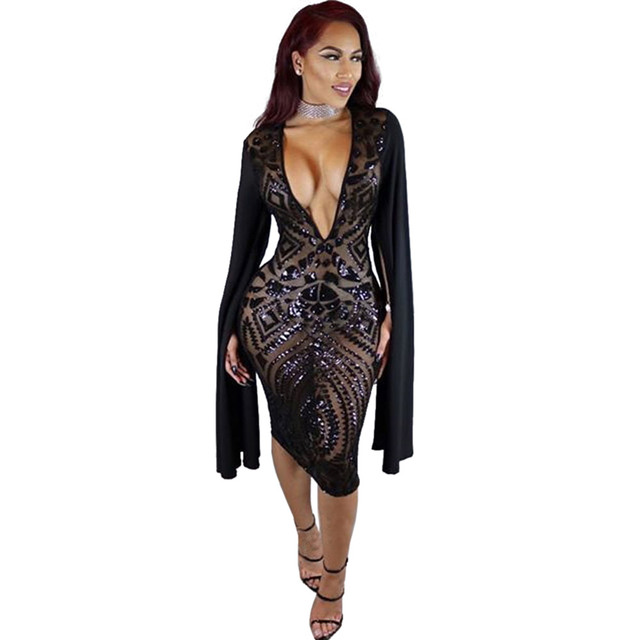 OKAYOASIS New Spring Robe Sexy Sequin Dress For Women Nighclub Party Dresses  Cloak Sleeve Deep V 440bd88068ea