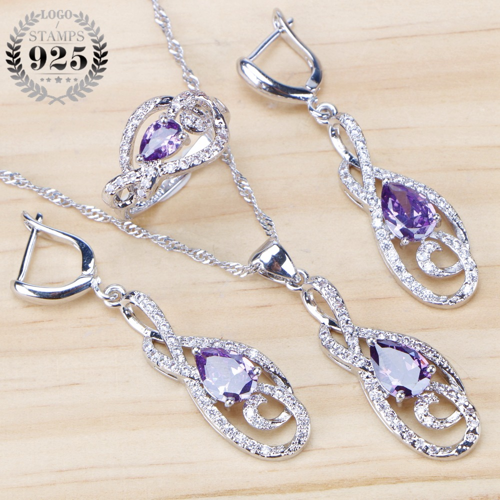 Stones Wedding 925 Sterling Silver Jewelry Sets For Women Necklace Purple CZ Drop Earrings