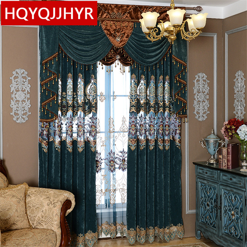 European royal luxury embroidered  curtain cloth with tulle for living room Luxury cashmere stitching curtains for bedroom window valance