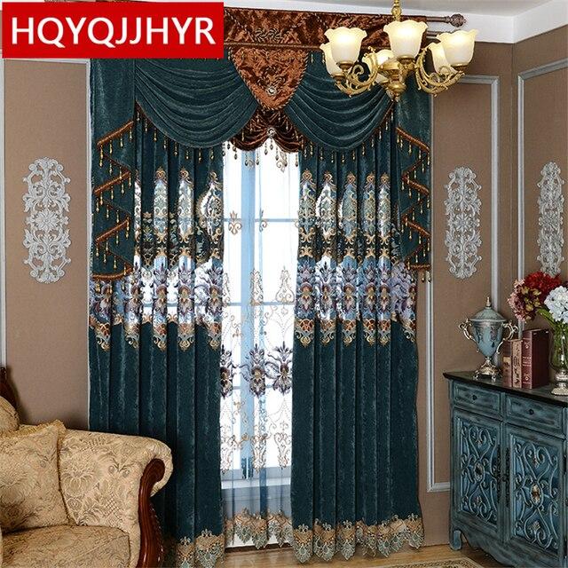 Europäischen Königlichen Luxus Bestickten Vorhang Tuch Mit Tüll Für  Wohnzimmer Luxus Kaschmir Nähen Vorhänge Für Schlafzimmer