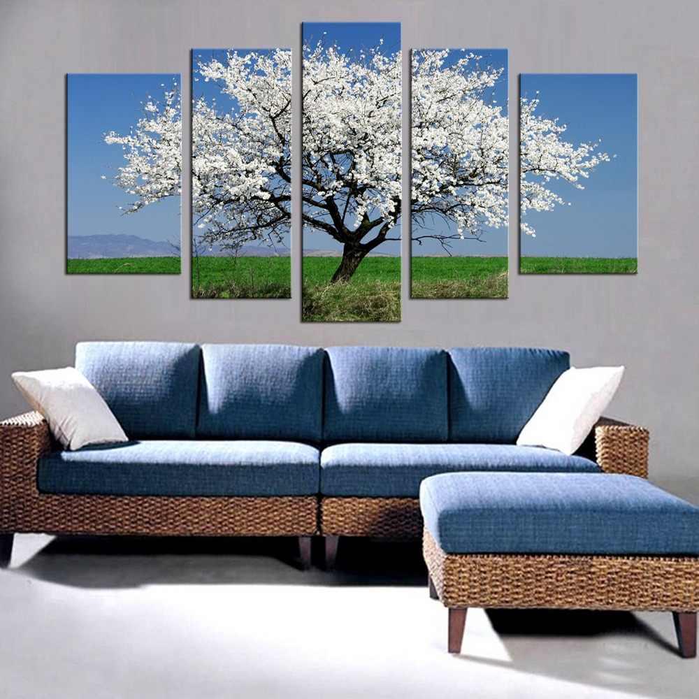 5 sztuk biały Plum Blossom drzewo kwiatowe krajobraz płótnie malarstwo unikalny dekoracje ścienne dla domu malowanie