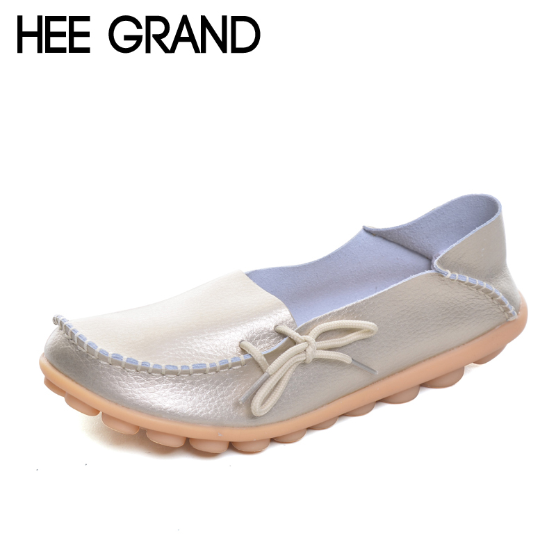 HEE GRAND Split Leather Women Shoes Casual Slip On Loafers Knot Sliver Gold Flats Soft Platform Shoes Woman Size 35-40 XWD756 hee grand pearl ballet flats 2017 crystal loafers bling slip on platform shoes woman pointed toe women shoes size 35 43 xwd4960