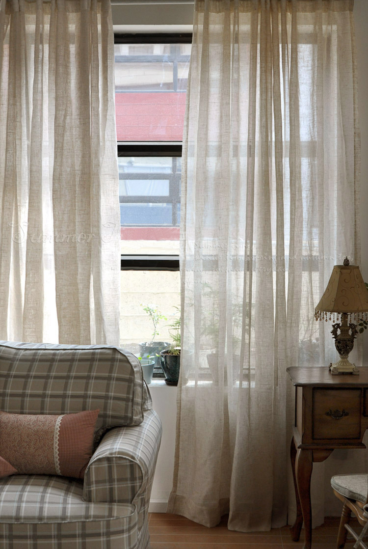 270cm High American Country Style Curtains For Living Room Linen Voile Curtain Short Kitchen